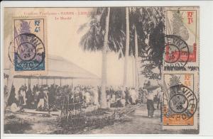 Gabon Libreville market scene stamps 1925 postcard