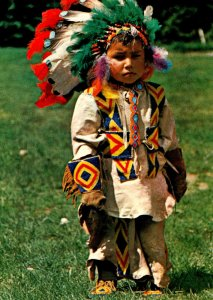 Indian Papoose Wearing Pint Size Regalia Of Canadian Indian Chief
