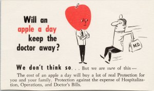 'Will An Apple A Day Keep The Doctor Away' Healthcare Insurance Postcard G14a