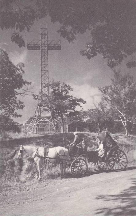Cross on top Mount Royal, Horse-Drawn Carriage, Montreal, Quebec, Canada, 00-...