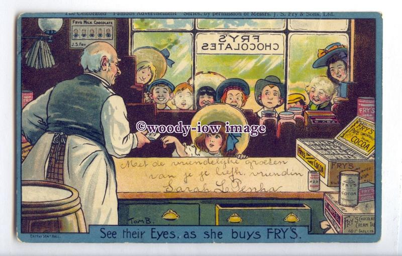 su3450 - Frys Cocoa - See Their Eyes As She Buys Frys - T Browne advert postcard