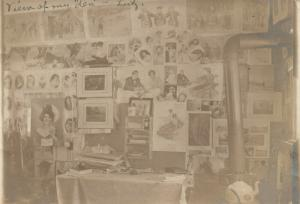 ROOM INTERIOR w/ PICTURES POSTERS ON WALL 1907 ANTIQUE REAL PHOTO POSTCARD RPPC