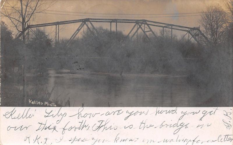 Arcadia Wisconsin~Trempealeau River Through Truss Bridge~Keller Photo~1907 RPPC