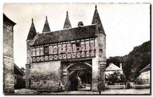 Old Postcard Longpont Aisne Fortiflee Door of the Abbey