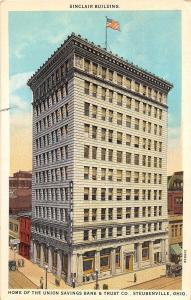 D3/ Steubenville Ohio Postcard 1943 Sinclair Building Union Savings Trust Bank