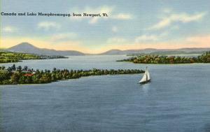 VT - Newport. Lake Memphramagog and Canada
