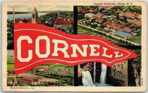 Vintage CORNELL UNIVERSITY Postcard Pennant Multi-View Ithaca NY Linen 1940s