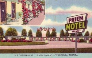 PRIEM MOTEL U.S. Highway 17, WAUCHULA, FL. Mr and Mrs F W Priem, Owners