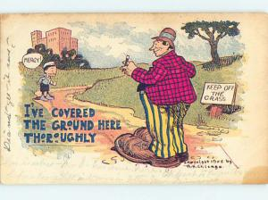 Pre-1907 comic COVERED THE GROUND THOROUGHLY - MAN WEARS VERY LARGE SHOES HQ8481