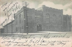 First Regiment Armory, Newark, N.J., Early Postcard, Used in 1906