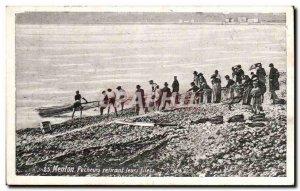 Menton Old Postcard Fishermen pulling their nets