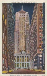 CHICAGO , Illinois , 1930-40s ; Looking Down LaSalle Street at Night