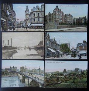 Wales 6 x NEWPORT inc Alexandra Dock Commercial St Newport Bridge c1906 Postcard