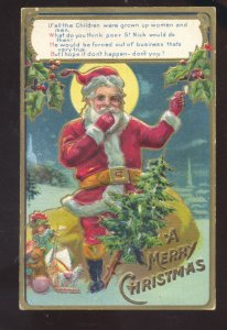 MERRY CHRISTMAS SANTA CLAUS FULL RED ROBE VINTAGE POSTCARD WORCESTER MASS.