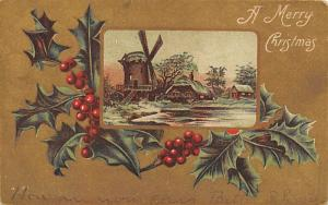 Christmas Post Card Old Vintage Antique Xmas Postcard Windmill Writing on back