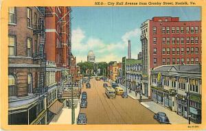 City Hall Avenue from Granby Street, Norfolk, Virginia VA Linen 1950