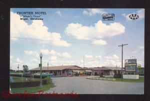 MIAMI OKLAHOMA FRONTIER MOTEL ROUTE 66 1960's CARS OLD ADVERTISING POSTCARD