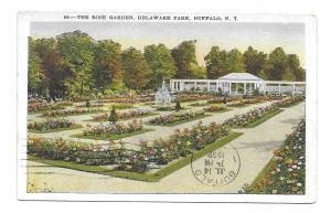 Buffalo, New York local use 1932 Post Card, Delaware Park Rose Garden, Scott 705