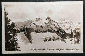 Mint Paradise Inn & Tatoosh Range Rainier National Park Real Photo Postcard RPPC