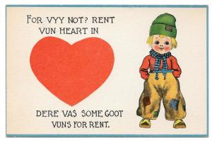 Dutch Kids Boy For Vyy Not? Rent Vun Heart Vntg Postcard