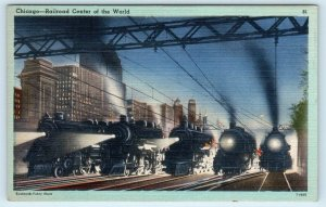 CHICAGO, IL ~ 5 RAILROAD STEAM ENGINES at NIGHT-Ready to Roll  c1940s Postcard