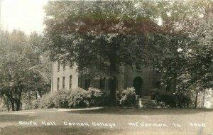 Cornell College South Hall 1930s Mount Vernon Iowa RPPC Photo Postcard 20-337
