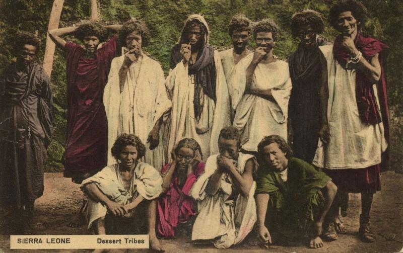 sierra leone, Group of Native People, Sahara Desert Tribes (1913) Postcard