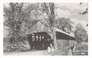 E31/ Parsonfield Porter Maine Me RPPC c50s Postcard Covered Bridge 15