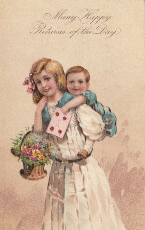 GREETINGS, 1900-10s; Girl carrying toddler piggy-back, basket of flower PFB 7095