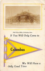 F97/ Columbus Nebraska Pennant RPPC Postcard c1910 High School 12