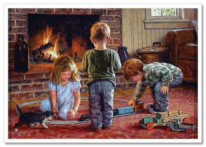 LITTLE GIRL & BOY play railroad Fireplace JIM DALY KIDS ART Modern Postcard