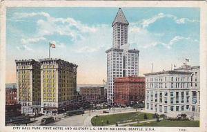 City Hall Park, Frye Hotel and 42-story L.C. Smith Building, Seattle, Washing...