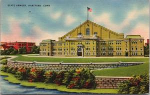 State Armory Hartford CT Connecticut Conn c1944 Linen Postcard D43