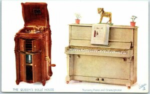 1910s Tuck's Oilette Postcard QUEEN'S DOLL HOUSE Nursery Piano & Gramophone