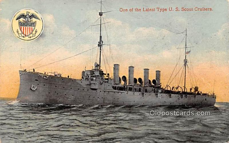 Military Battleship Postcard, Old Vintage Antique Military Ship Post Card One...