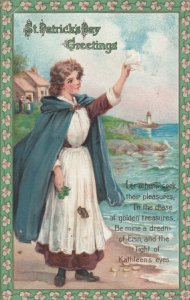 ST. PATRICK'S DAY , 1900-10s ; Greetings, Woman on beach, poem, Lighthouse