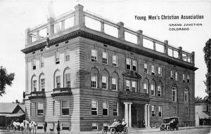 Grand Junction Colorado~Young Men's Christian Association~White Horses~Cars~1908