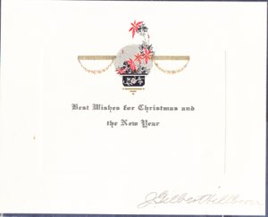 BEST WISHES FOR CHRISTMAS & NEW YEAR, 1900s, signed J Gilbert HILLBORN / no city