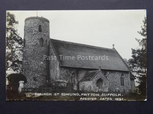 Suffolk FRITTON St Edmund Church - Old RP Postcard by Woods Series