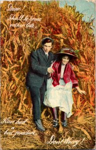 Vintage Postcard Have Had a Bad Puncture Man Woman