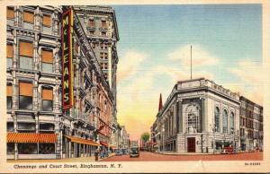 New York Binghamton Chenango and Court Street 1954 Curteich