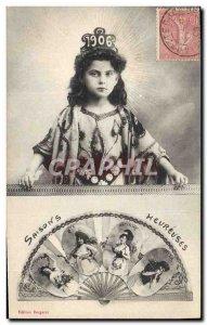 Old Postcard Fantasy Fan Child