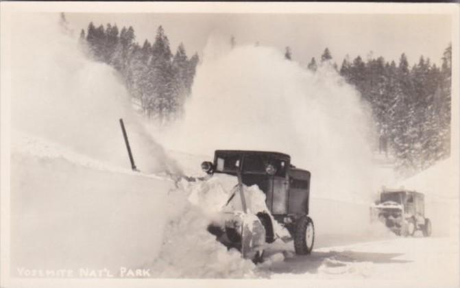 Snow Plows At Work In Yosemite National Park 1957 Real Photo