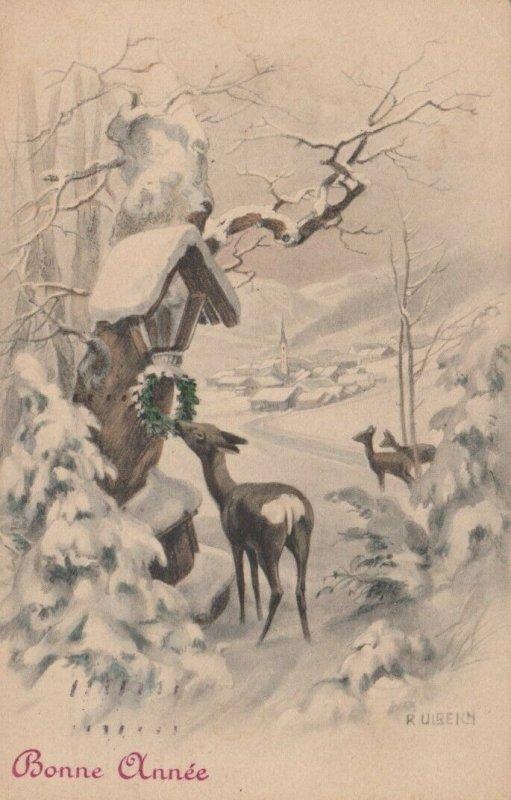 M.M..VIENNE : PU-1908 , Winter scene , Bonne Annee