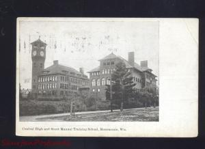 MENOMONIE WISCONSIN MANUAL TRAINING SCHOOL CENTRAL HIGH STOUR OLD POSTCARD