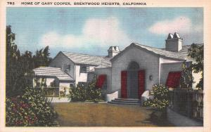 Home of Gary Cooper, Brentwood Heights, California, Early Postcard, Unused