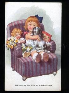 134554 Lovely Girl w/ JAPANESE CHIN & DOLL Vintage B.K.W.I. PC
