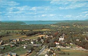 Shelburne Vermont Aerial View~Street-Church-Covered Bridge-Houses-Lake~1965 Pc