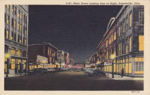 Main Street Looking East At Night, Painesville, Ohio, 1930-1940s