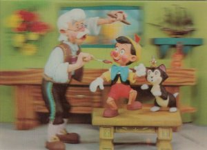 3-D ; Disney Pinocchio, Geppetto, Jiminy Cricket & Figaro Cat, 1970